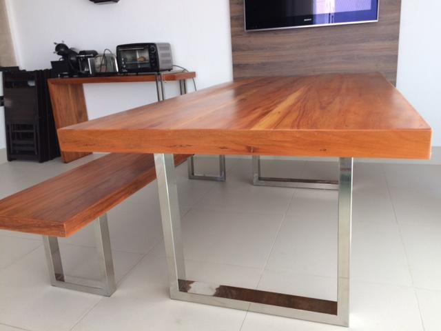 Aparador Kenay Home ~ Mesa de Jantar com Banco u2013 Madeira Demoliç u00e3o e pés em Aço Inox Império Lazer